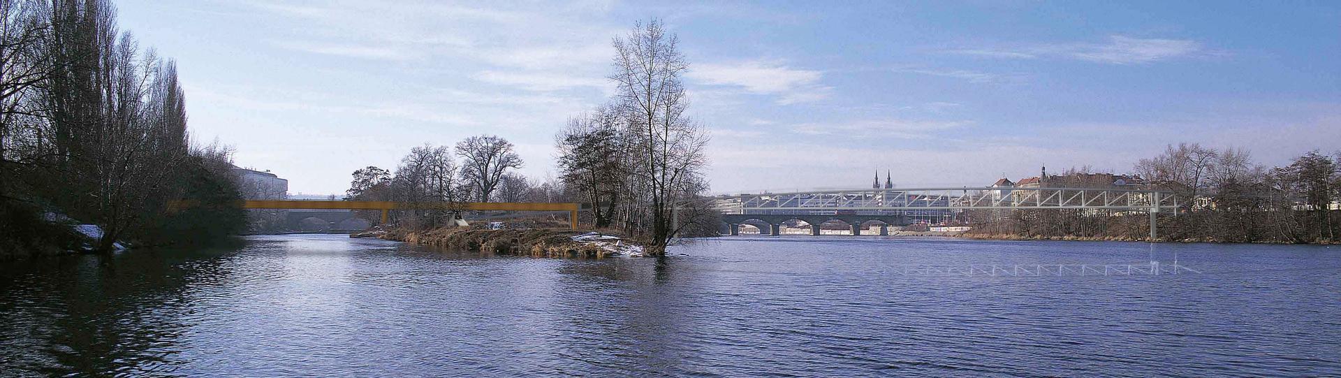 pedestrian bridge Holešovice-Karlín